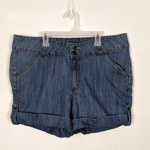 Lee Rider Roll Tab Jean Shorts High Rise